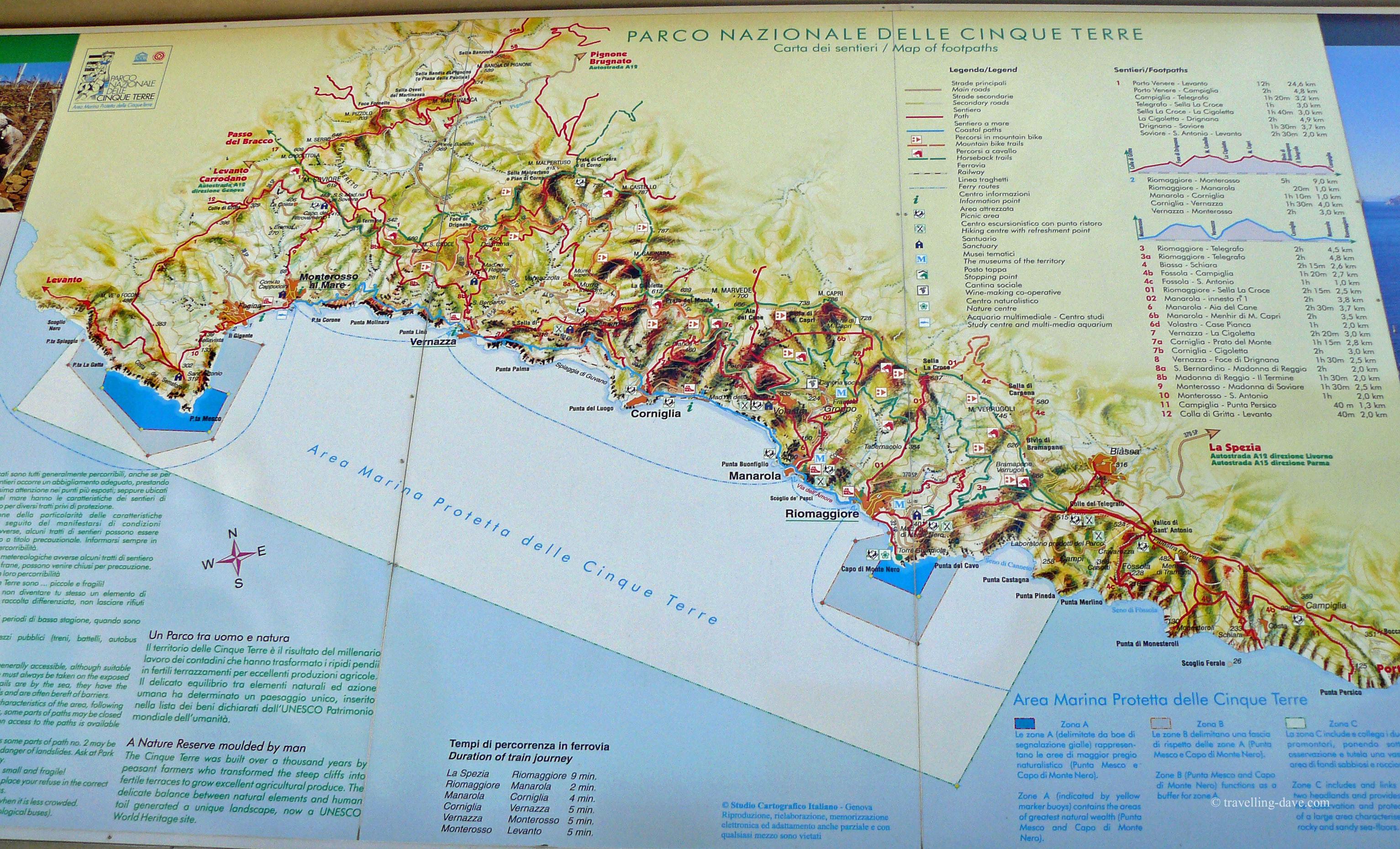 Photo of the Cinque Terre coast map