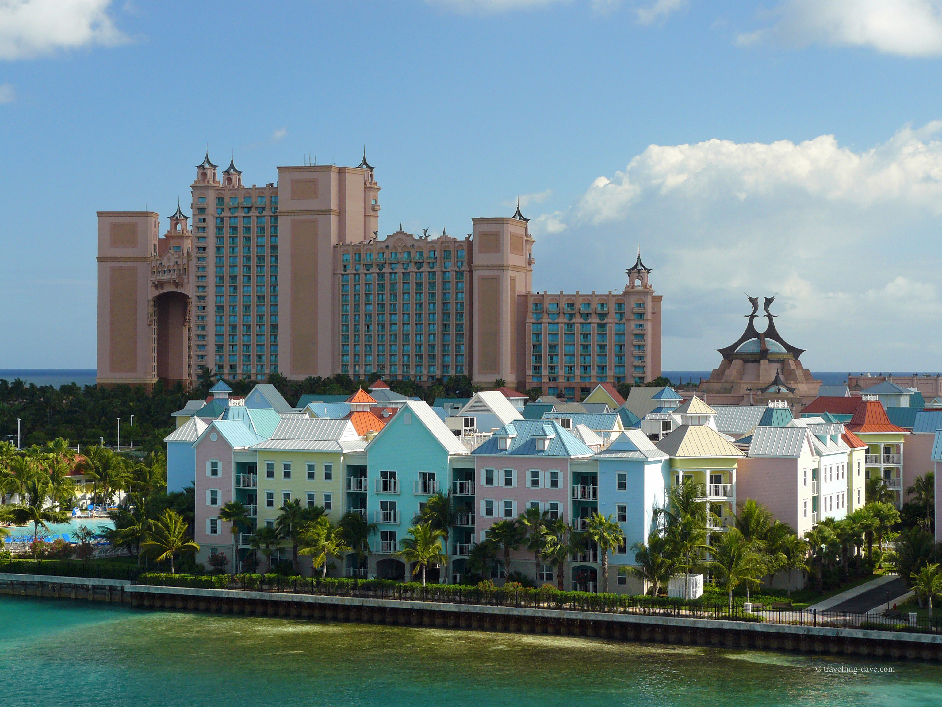 View of houses and the Atlantis Resort in the Bahamas