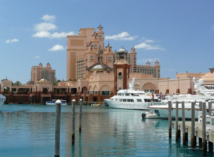 Yachts in front of Atlantis Paradise Island in the Bahamas