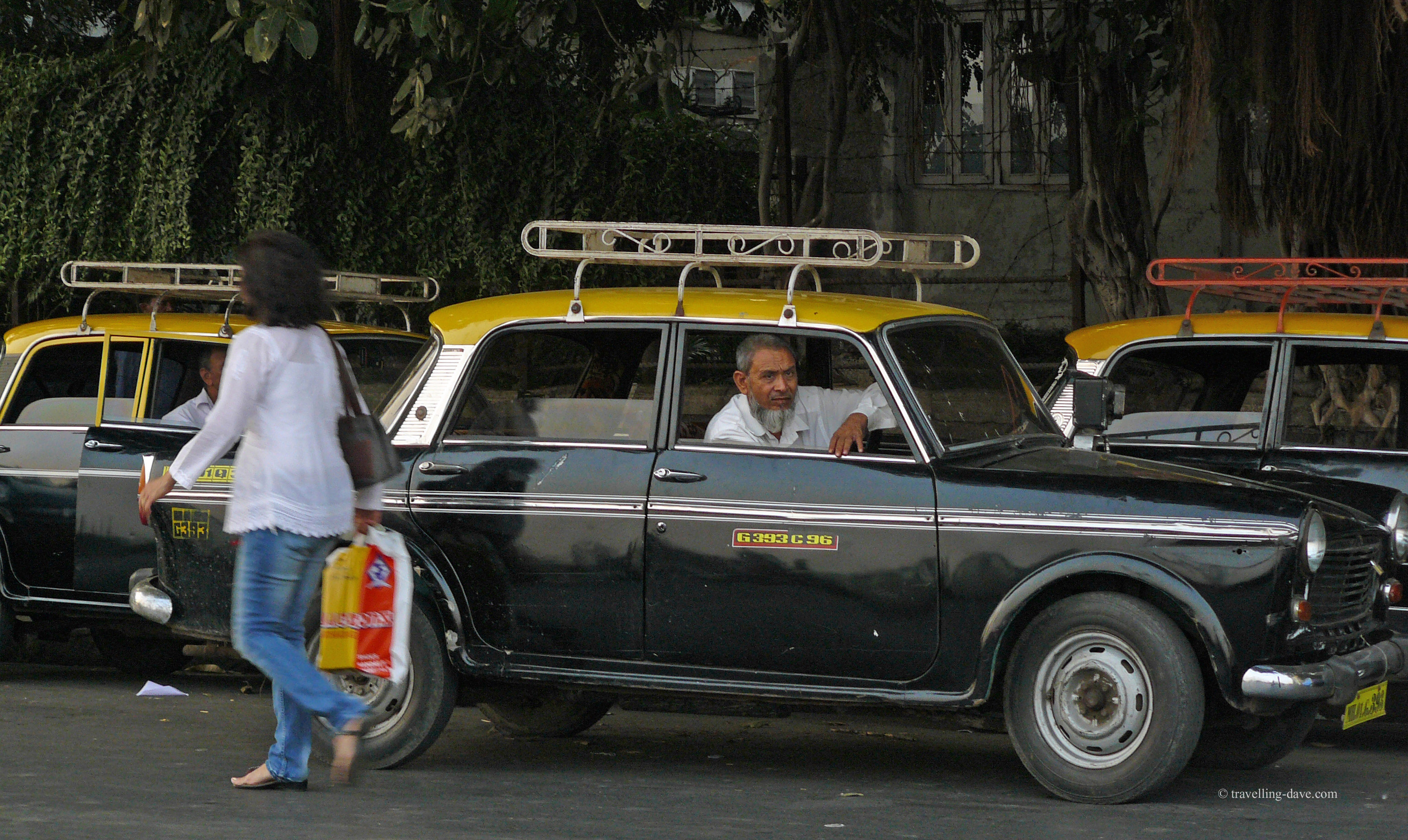 One of Mumbai's black and yellow taxis