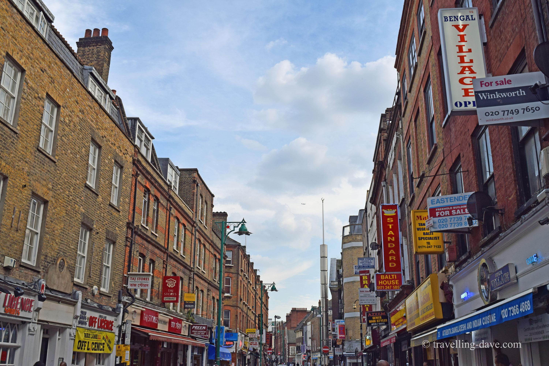 View of Brick Lane many restaurants in London