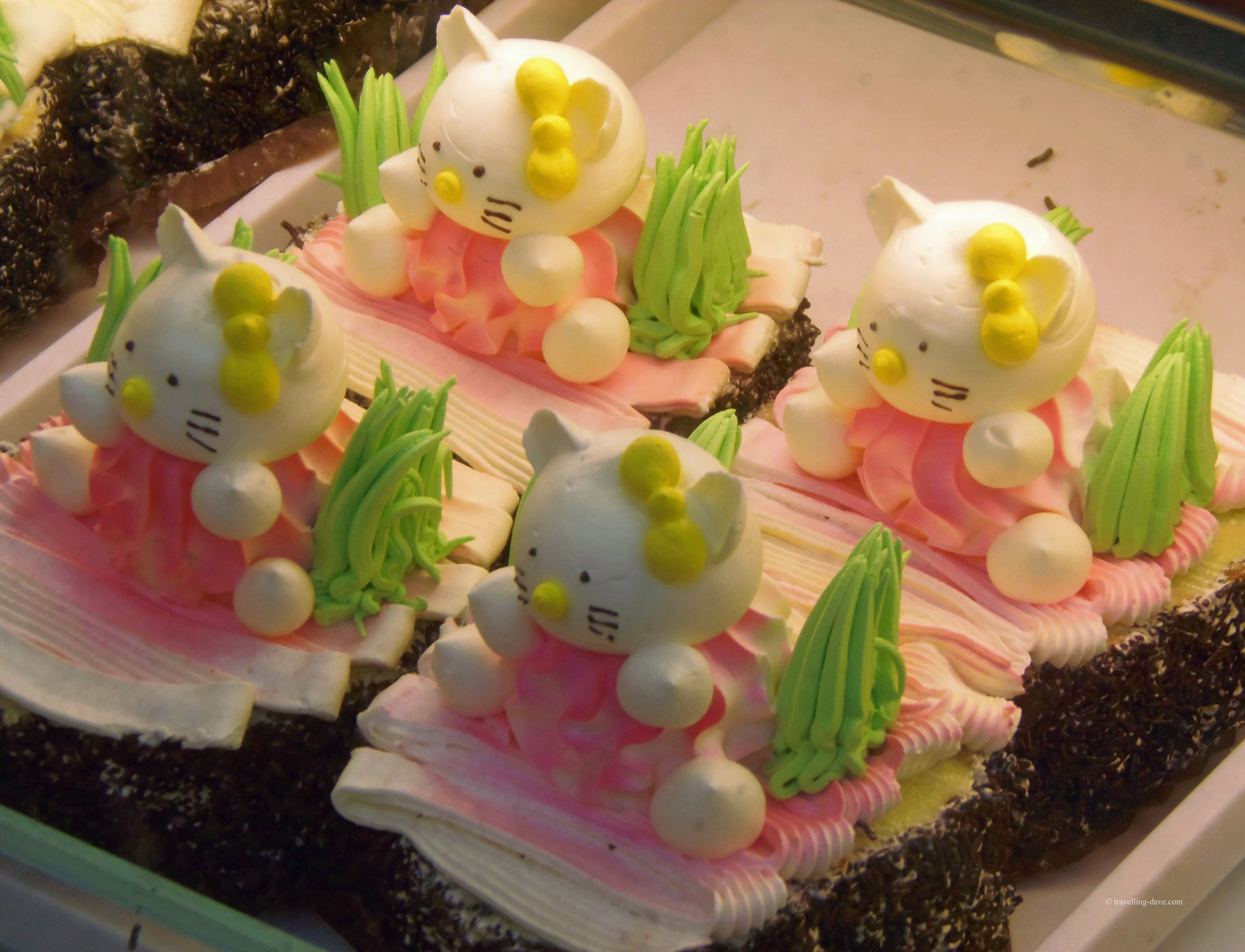 Hello Kitty shaped cakes in London's Chinatown