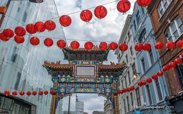 Chinese New Year paper lantern and arch in London's Chinatown
