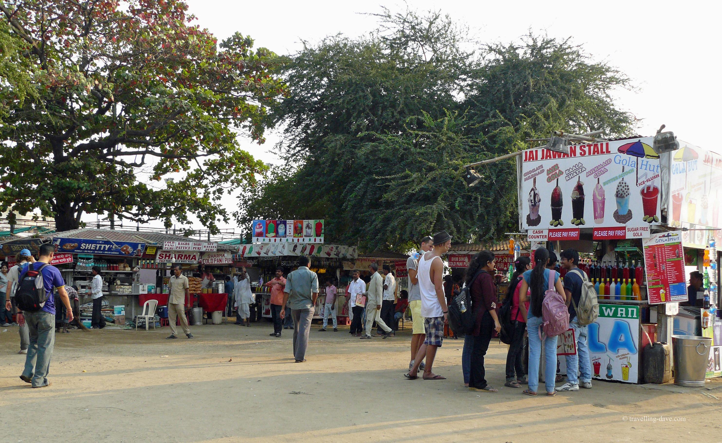 Stalls on Chowpatty Beach in Mumbai