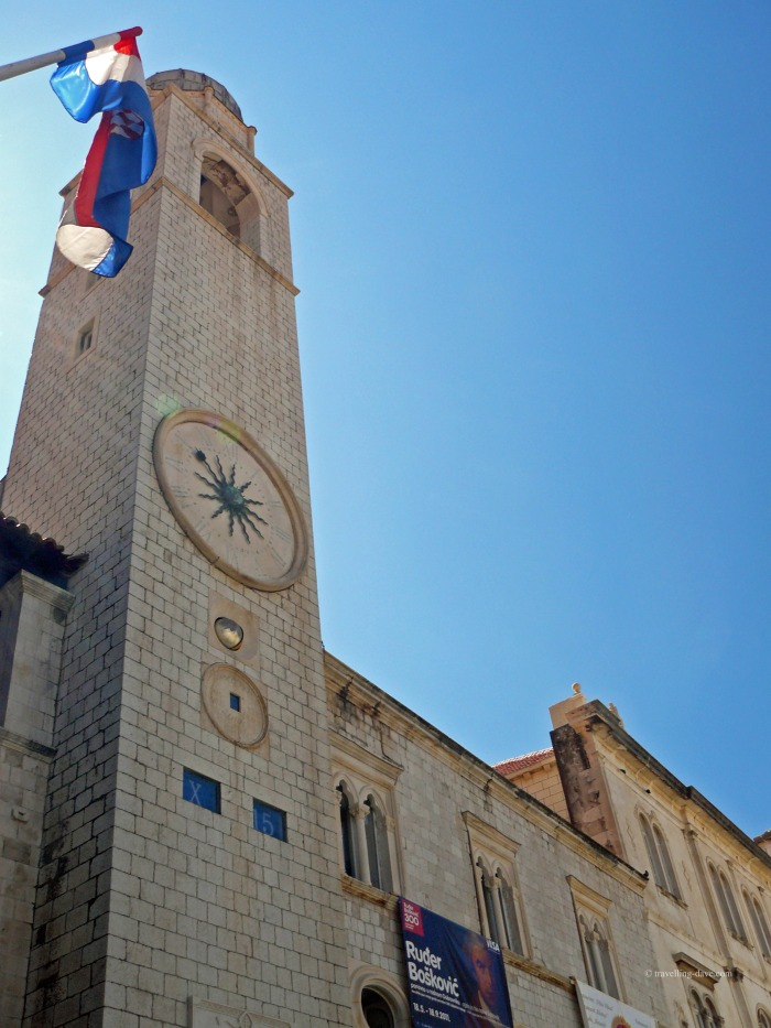Looking up at Dubrovnik Clock Tower