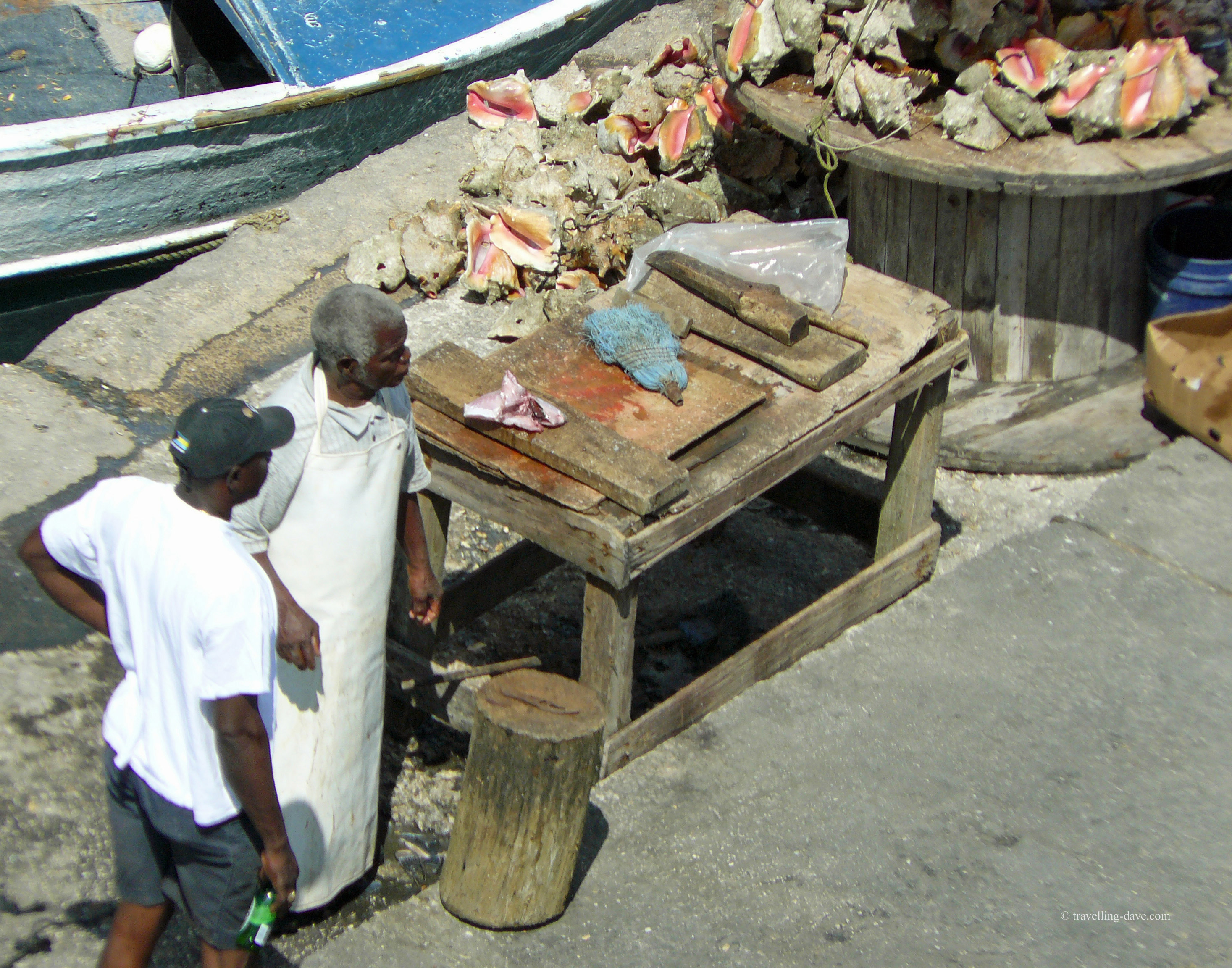 Conch on sale at Potter's Cay in the Bahamas