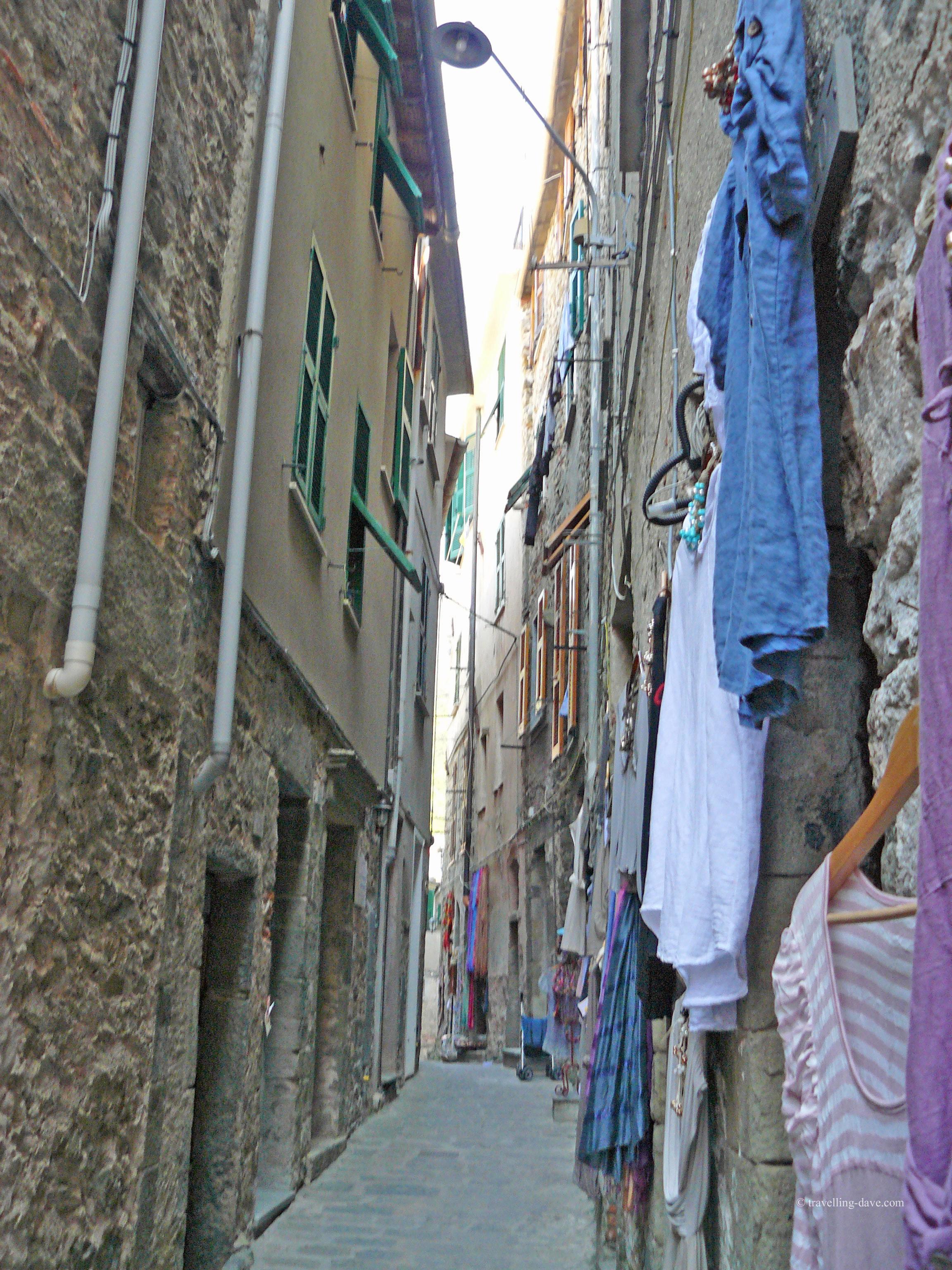 View of one of Corniglia narrow streets