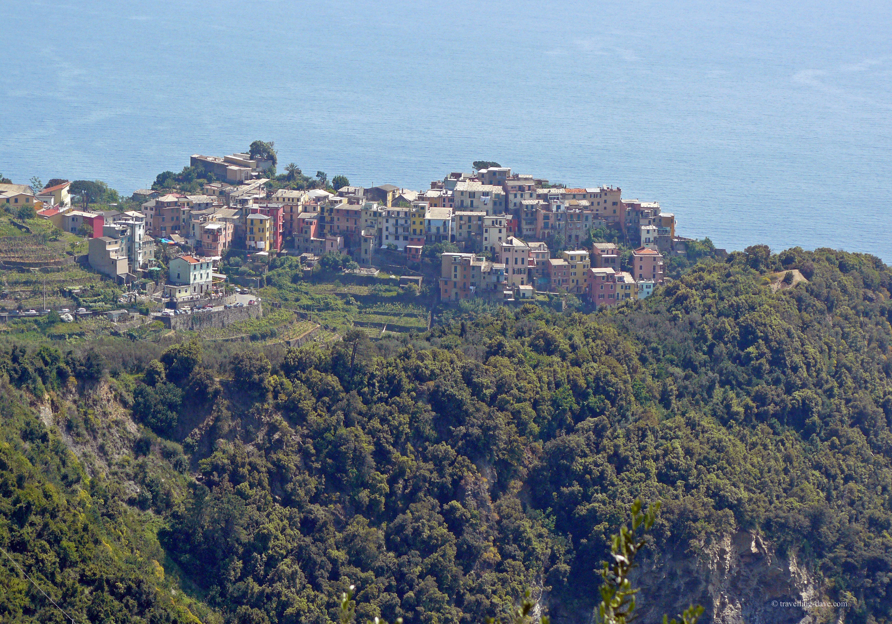 Looking down on the village of Corniglia in Italy