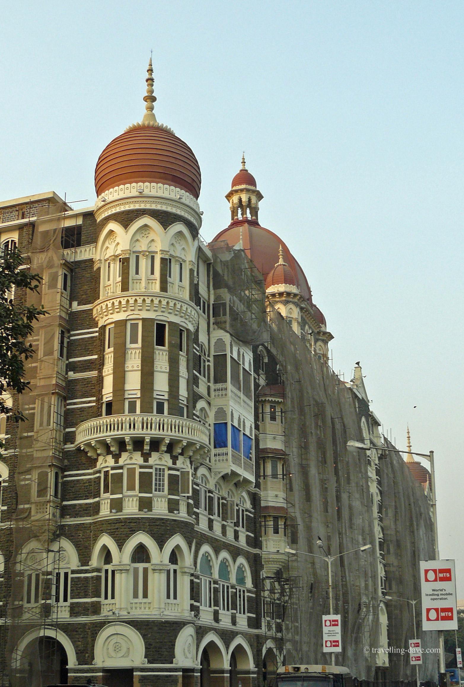 Side view of the Taj Mahal Palace Hotel in Mumbai