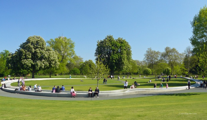 View of Diana Princess of Wales Memorial Fountain in London's Hyde Park