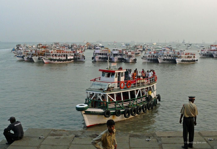 Boats by the Gateway of India in Mumbai