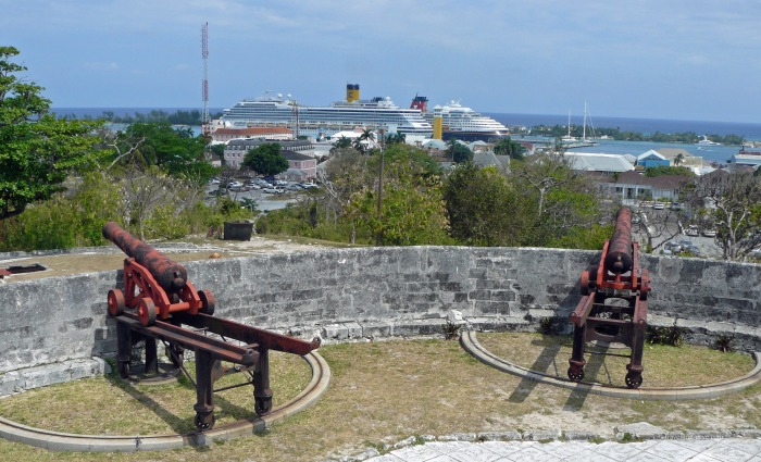 Cannons overlooking Nassau in the Bahamas