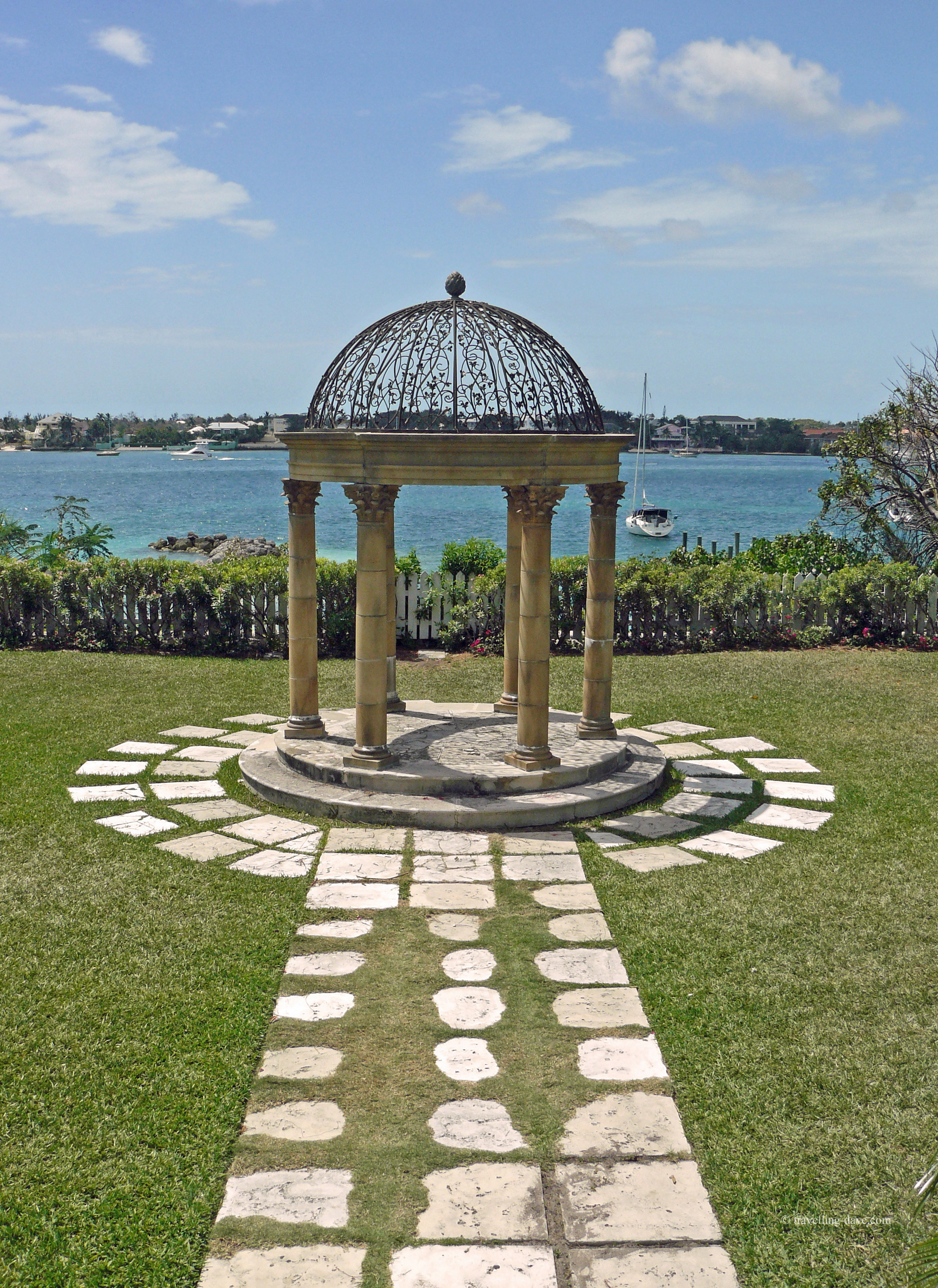 View of a gazebo and the sea in the Bahamas