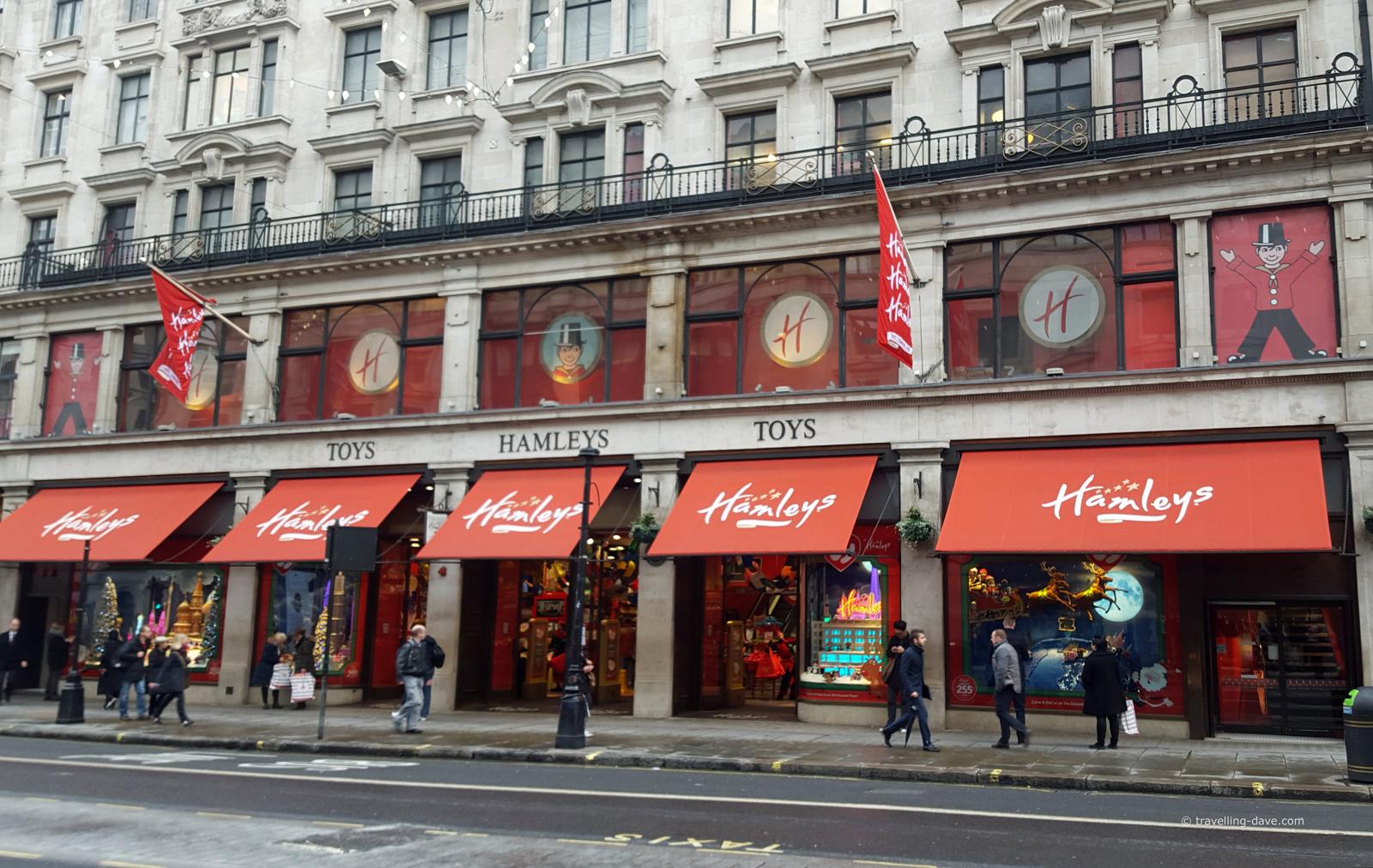 View of Hamleys Toy Store on Regent Street in London