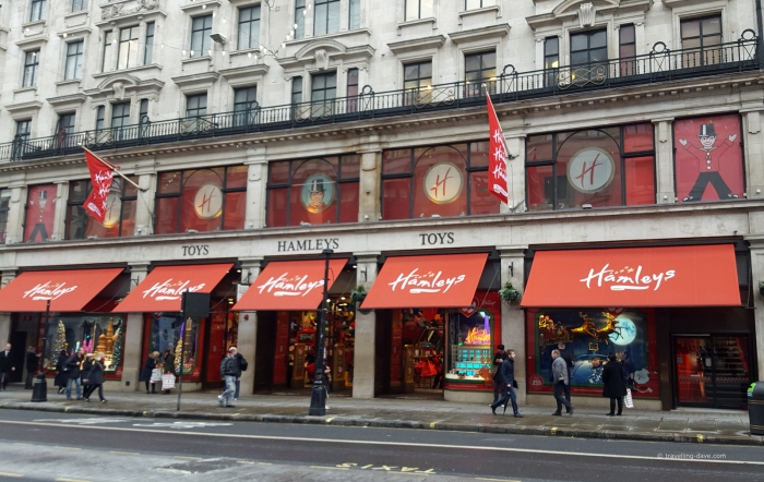 View of Hamleys Toy Store on Regent Street in London
