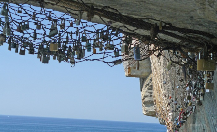 Love locks along the Lovers' Walk in Italy