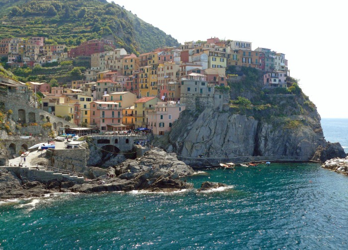 Picture postcard view of the village of Manarola in Italy