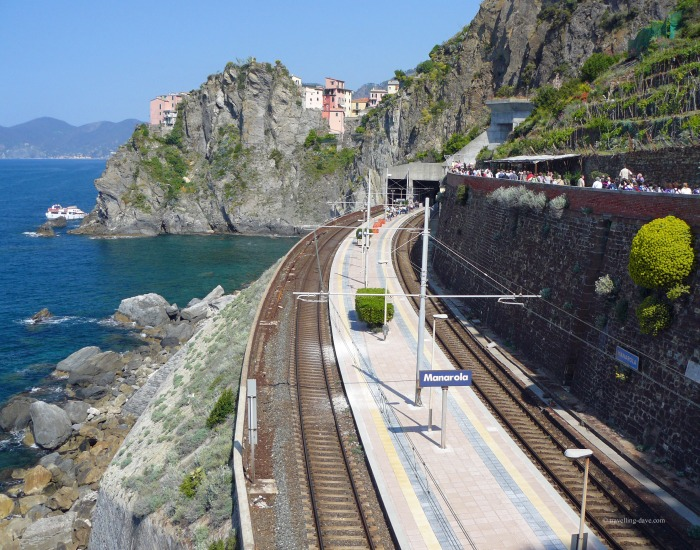 View of the train station at Manarola in Italy