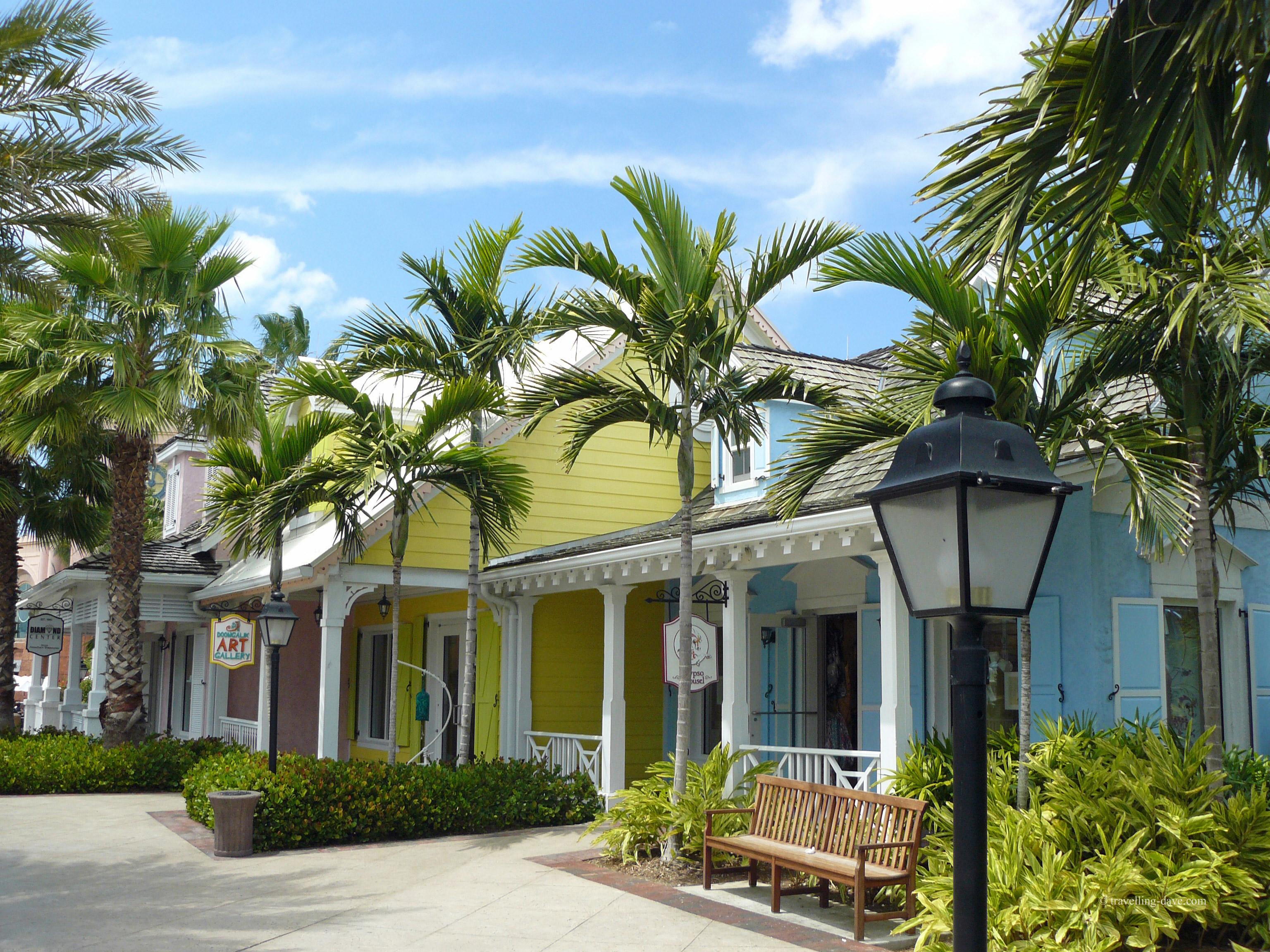 Colorful shops at Marina Village in the Bahamas