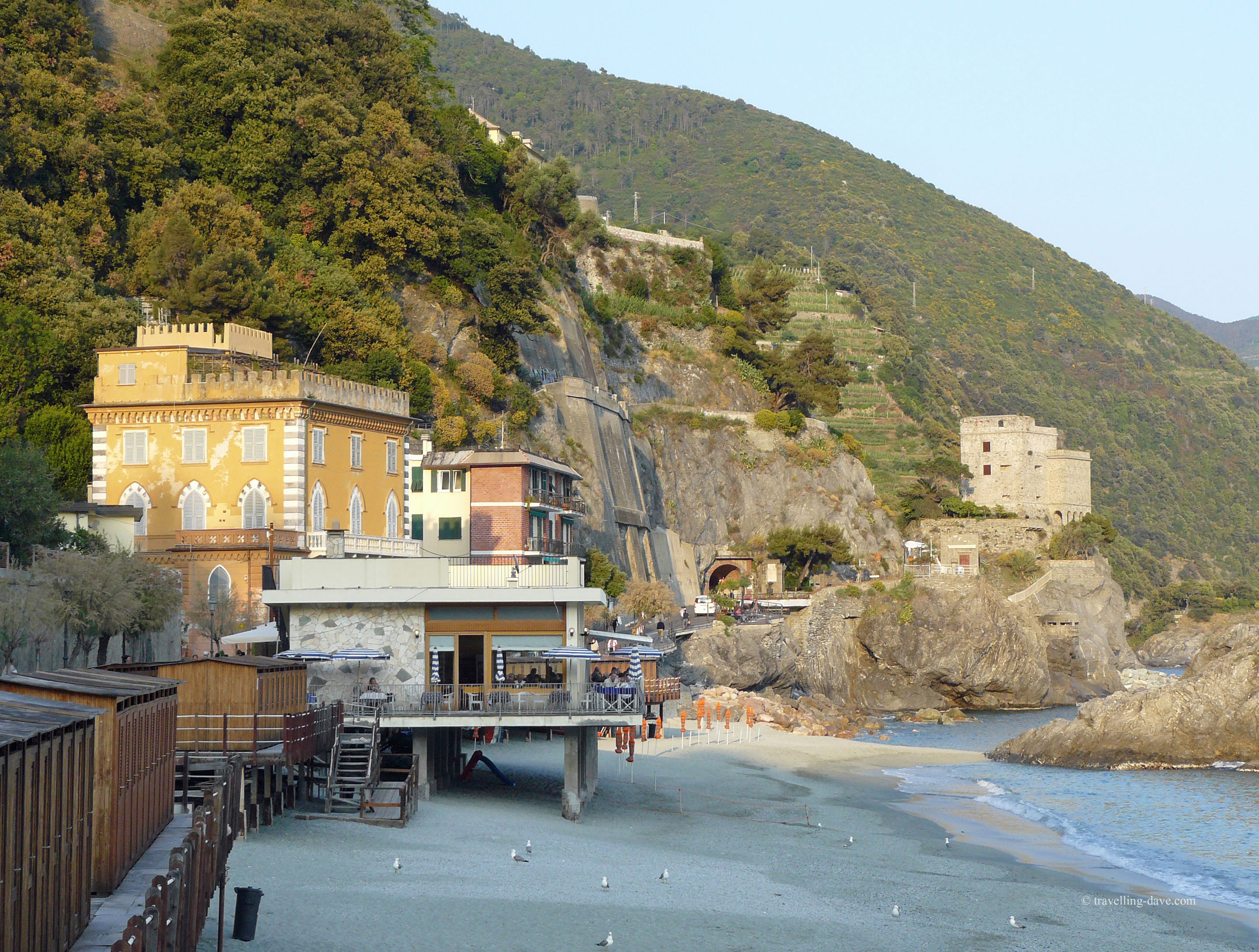 A bar and restaurant on the beach at Monterosso al Mare in Italy