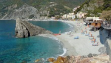 View of the beach at Monterosso in Italy