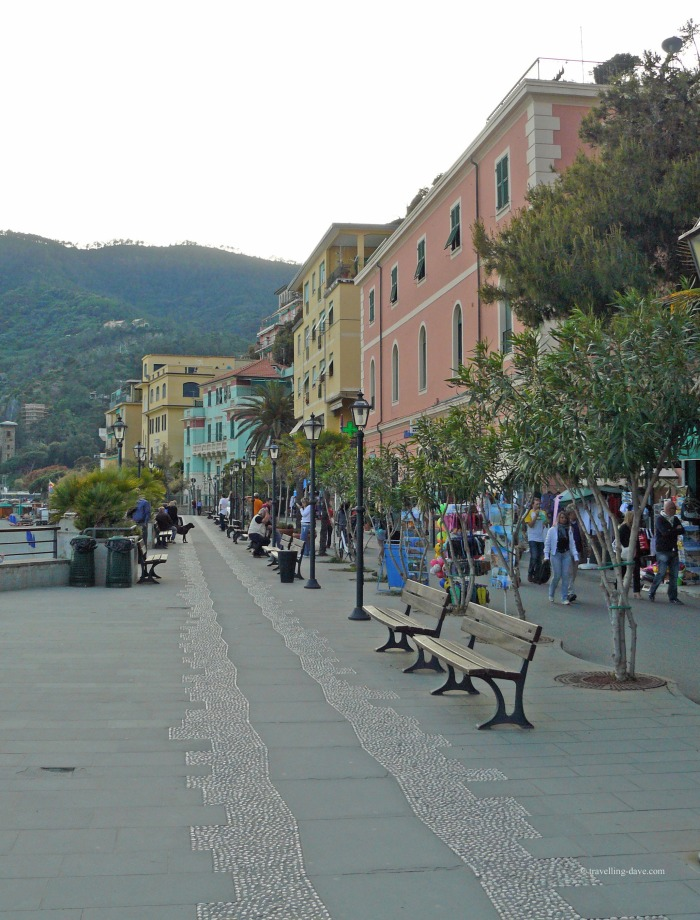 View of the benches and trees along Monterosso promenade