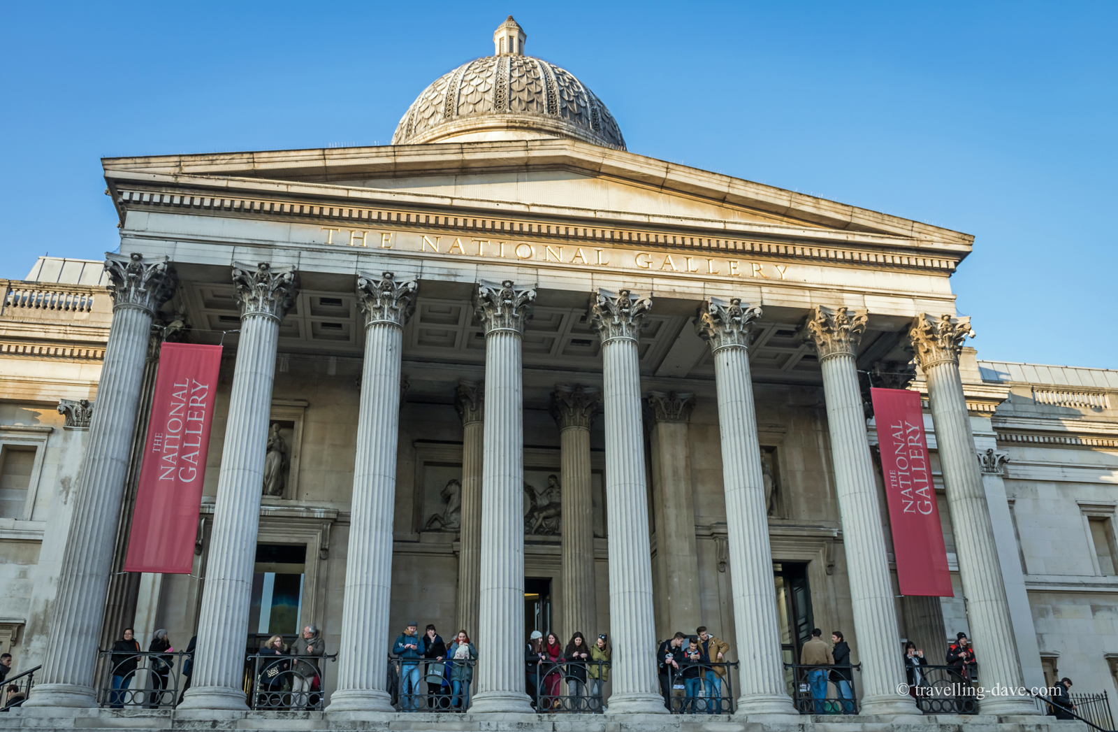 View of the Portico Entrance of the National Gallery in London