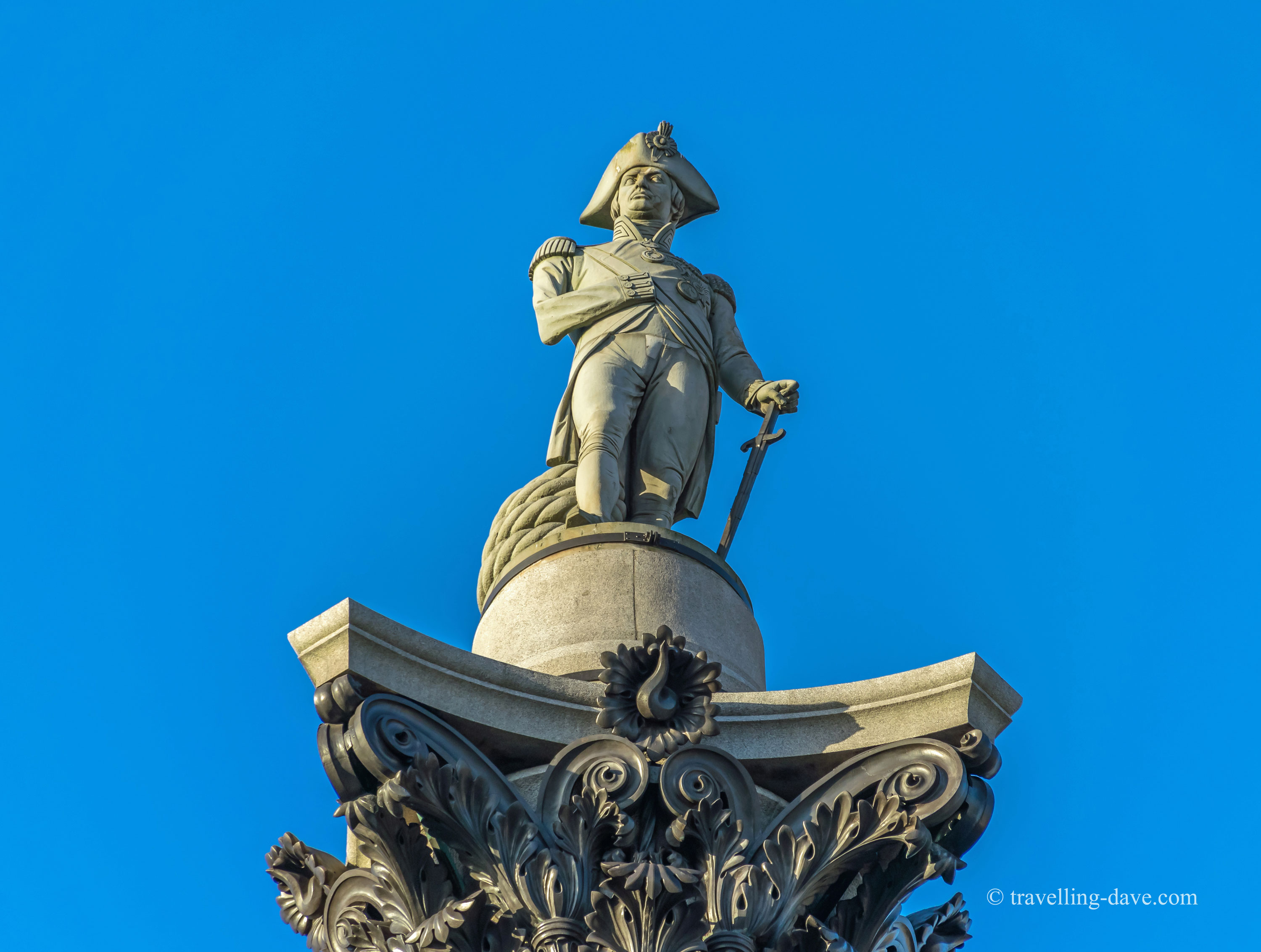 Statue of Admiral Nelson on top of Nelson's Column in London