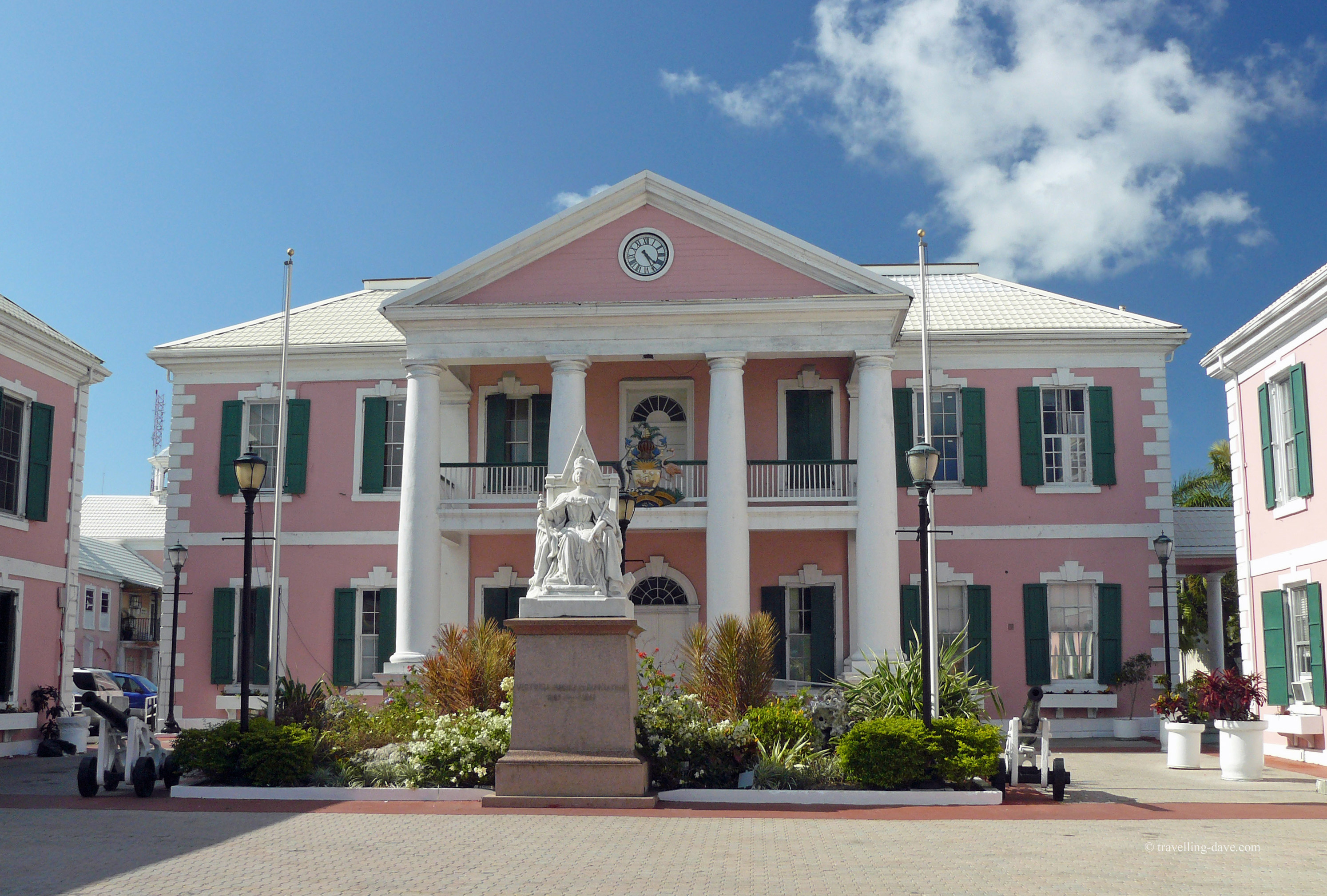 The pink building of the Bahamas Parliament