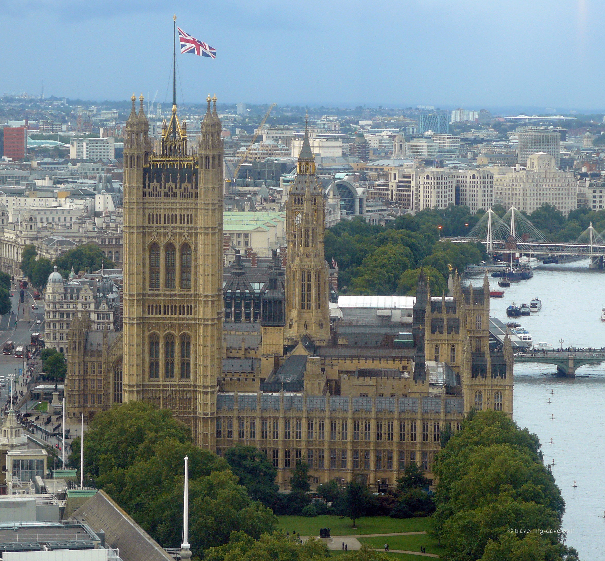 Aerial view of London's Houses of Parliament