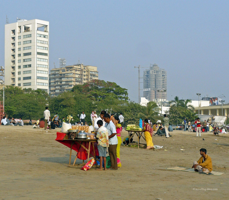 Street food stall on Chowpatty Beach in Mumbai