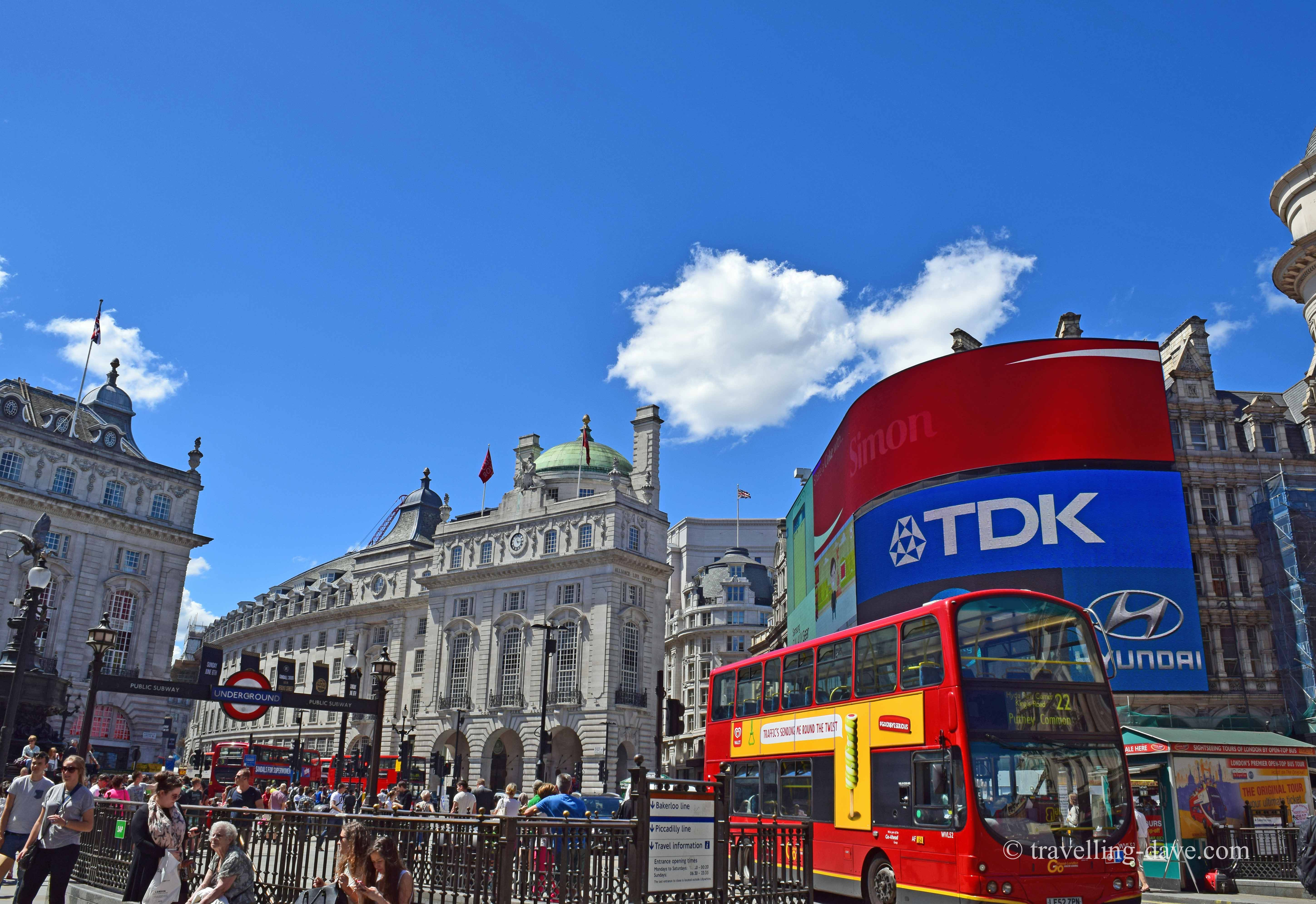 Bus driving through Piccadilly Circus