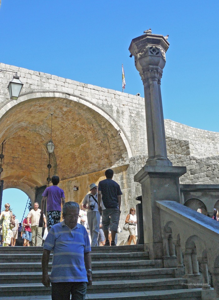 View of one of the gates at the entrance of Dubrovnik Old Town