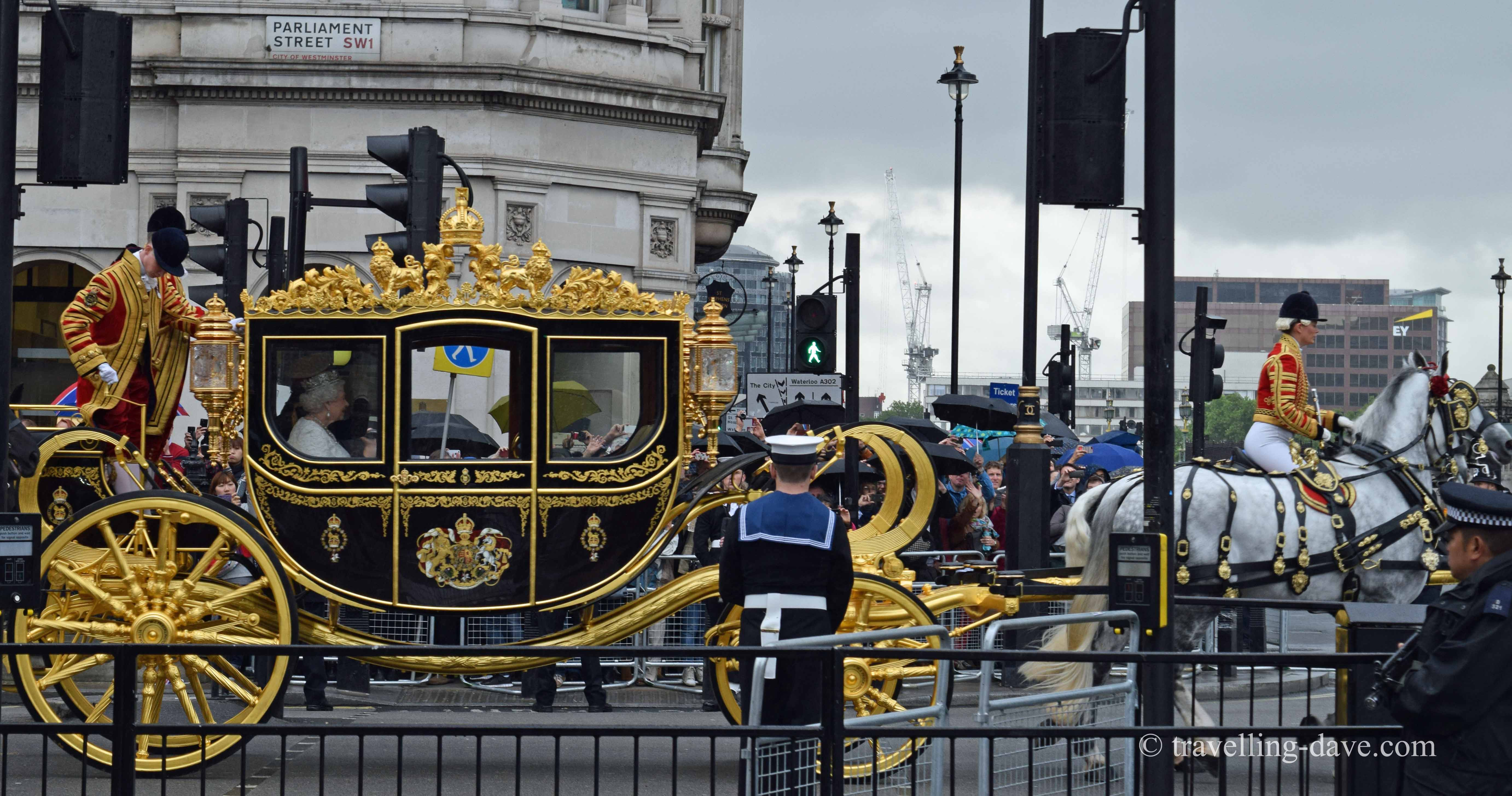 The Queen in her carriage in London