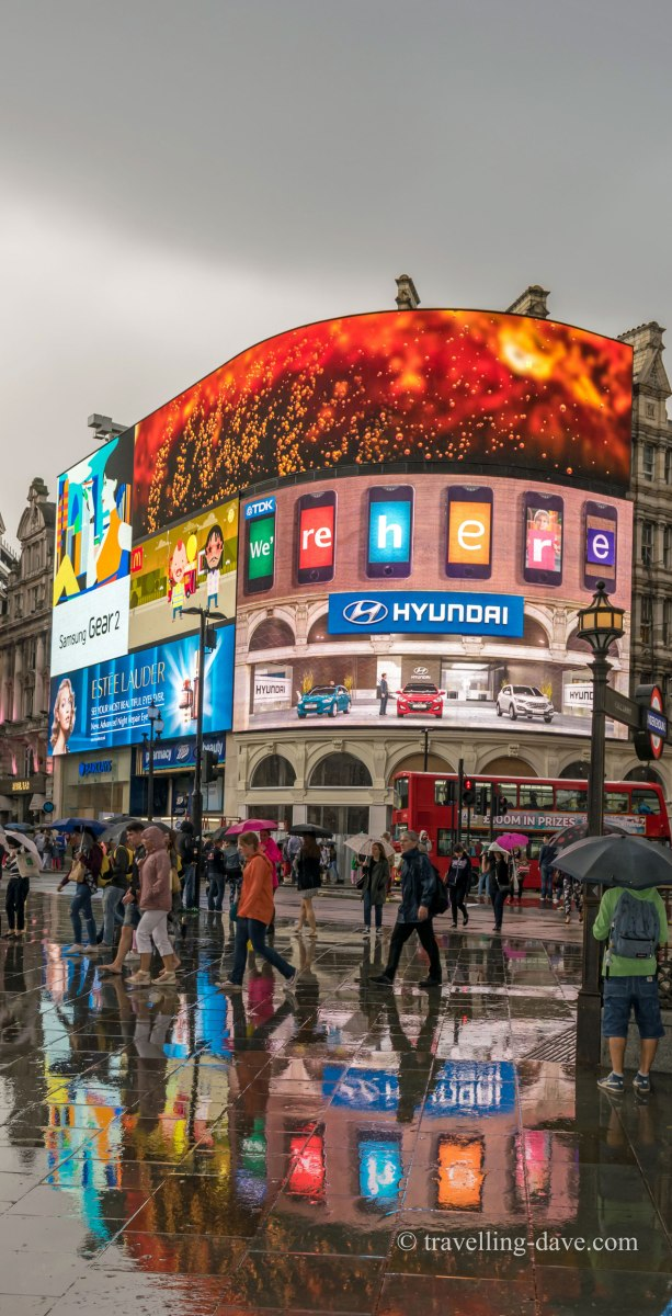 Lights reflecting in the rain at Piccadilly Circus