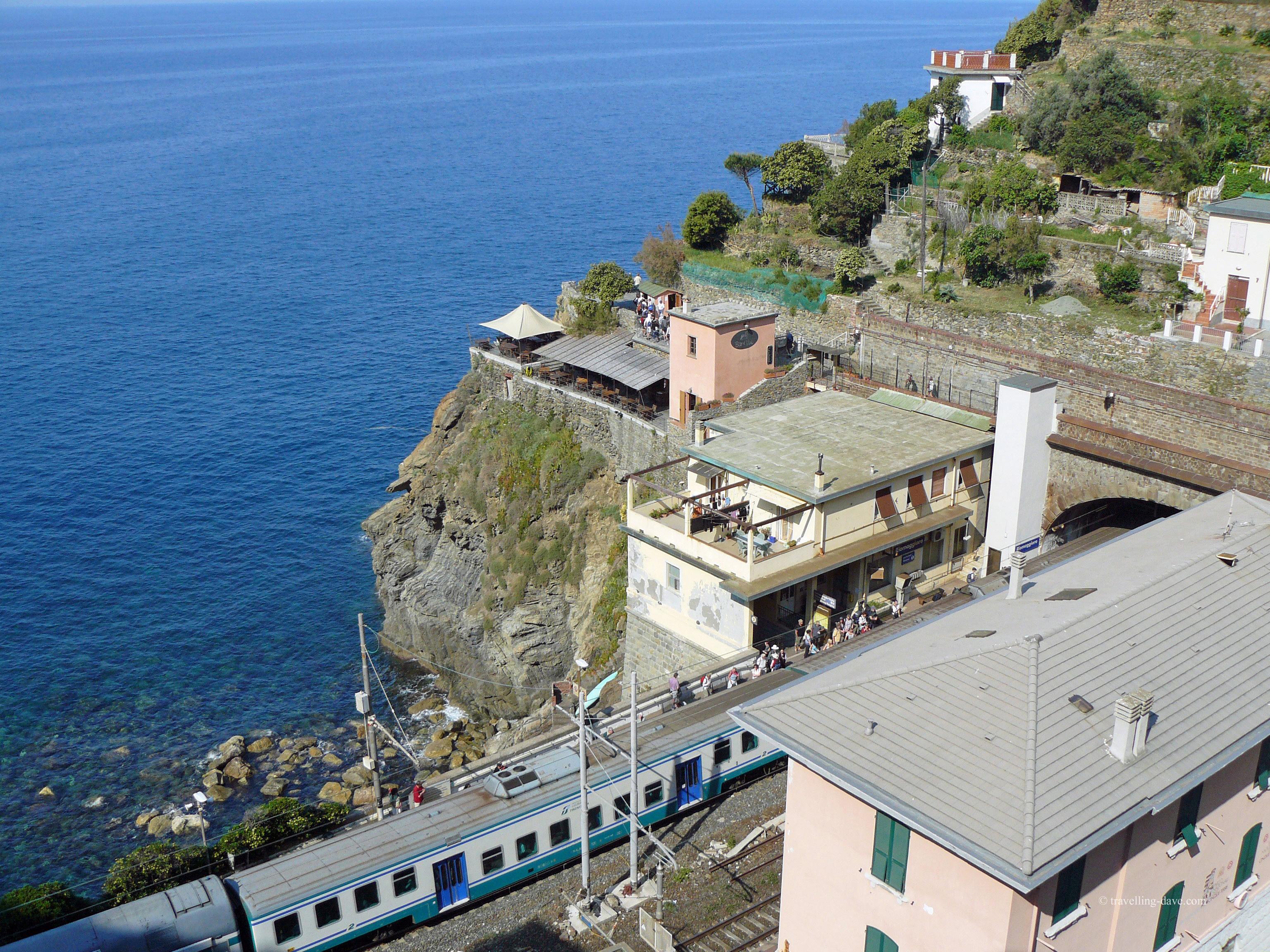 Train at Riomaggiore station