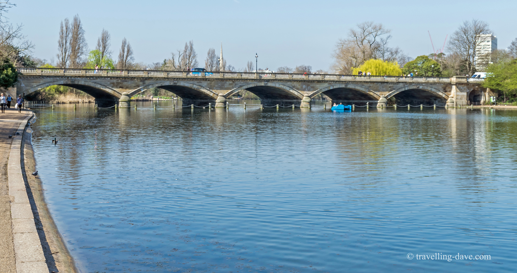 View of the Serpentine Bridge in London's Hyde Park