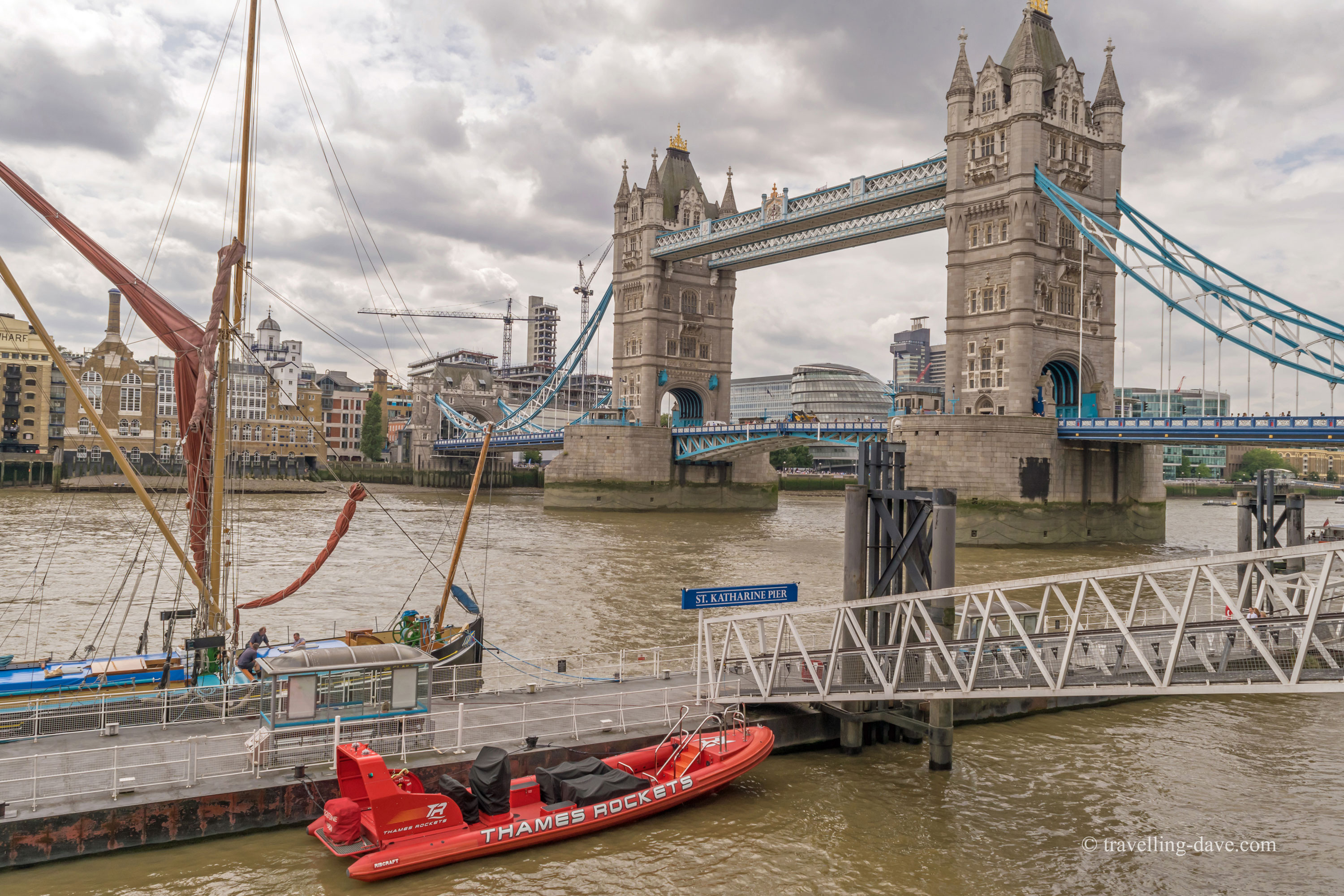 View of Tower Bridge and St.Katharine's Pier in London