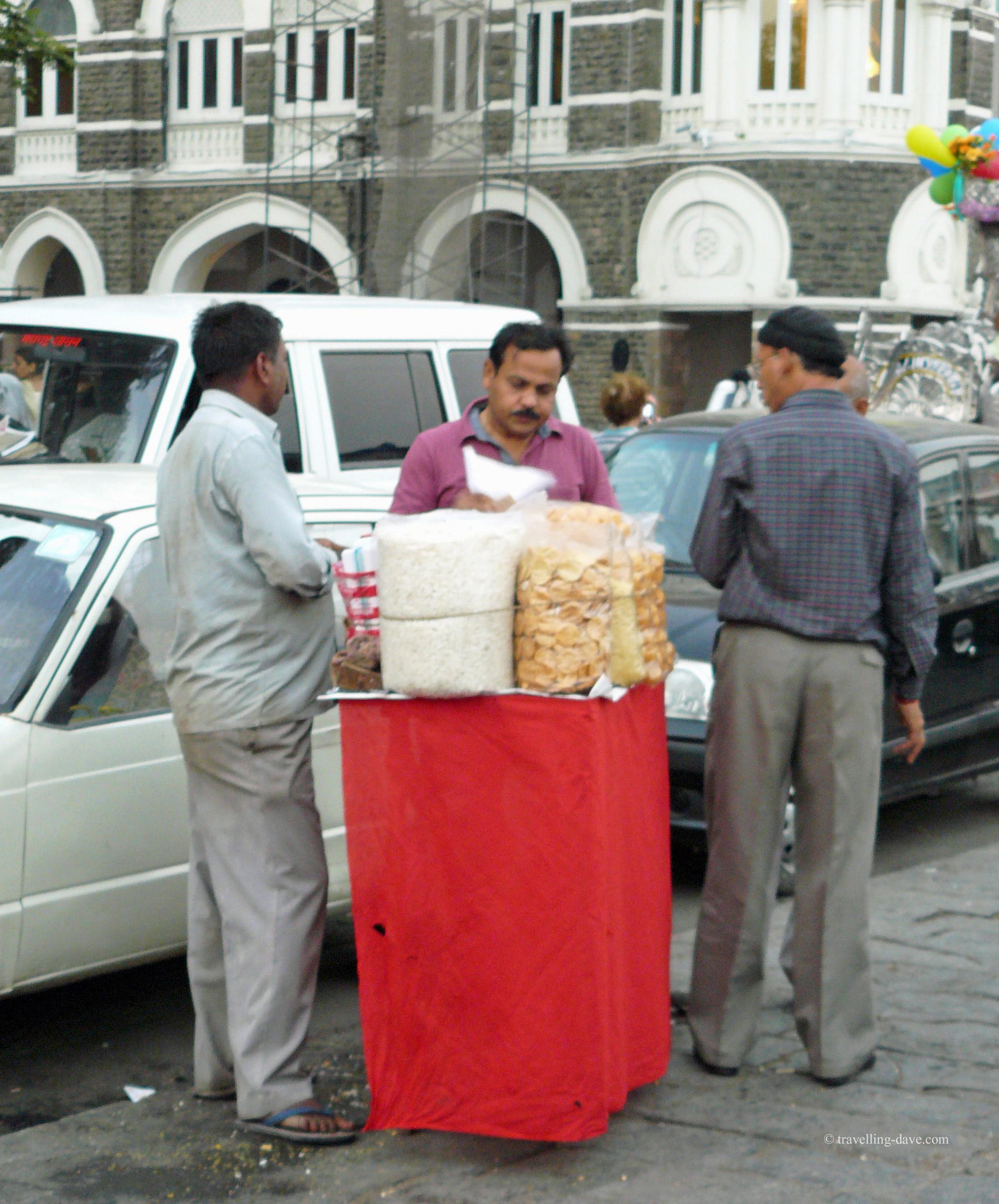 Buying street food in Mumbai