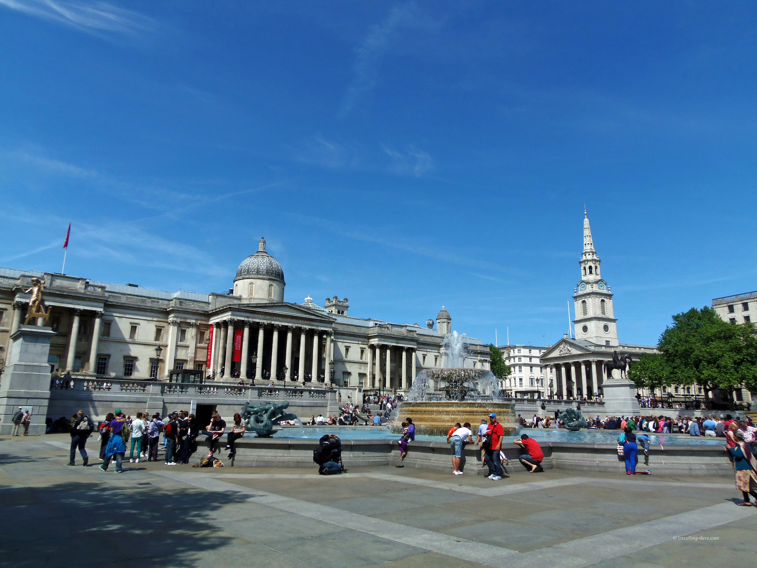 View of Trafalgar Square in London