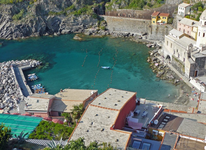 View of the small harbour in Vernazza in Italy
