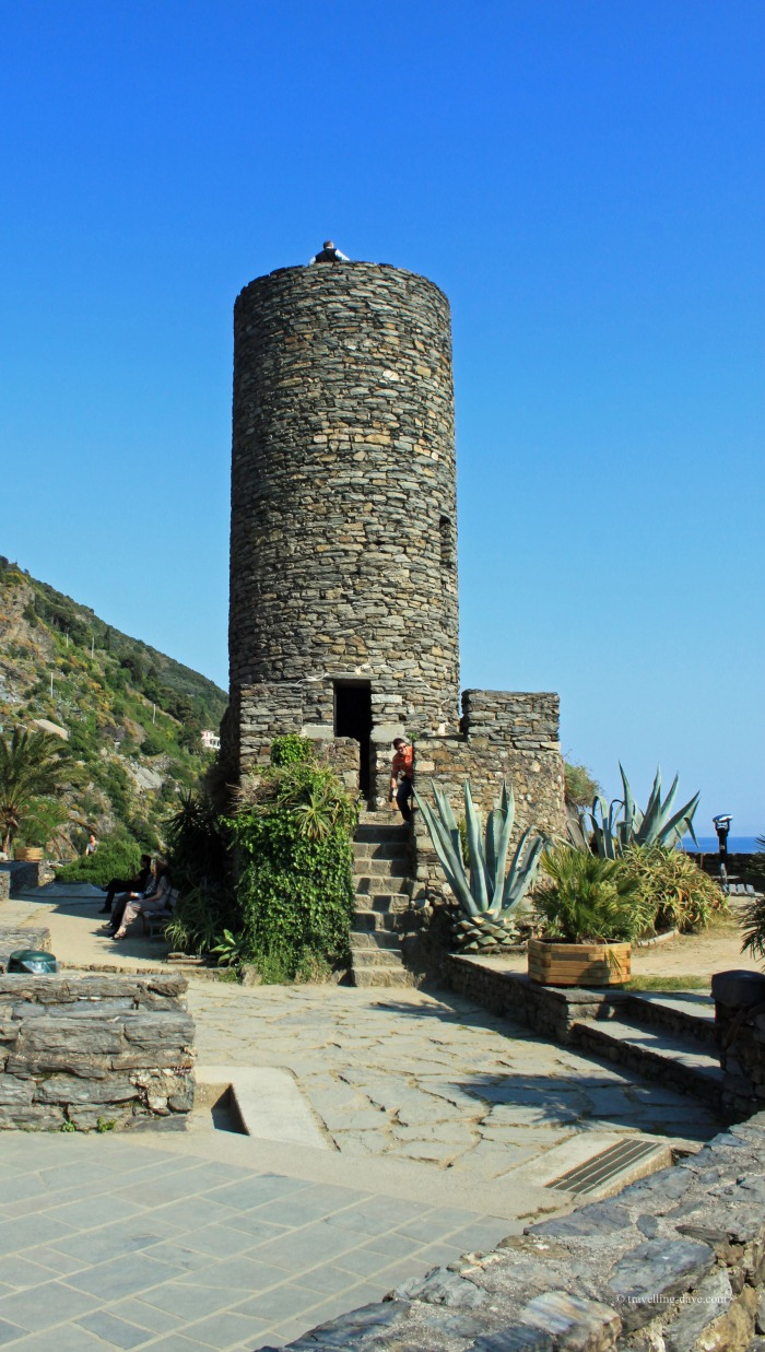 View of the watchtower in Vernazza in Italy