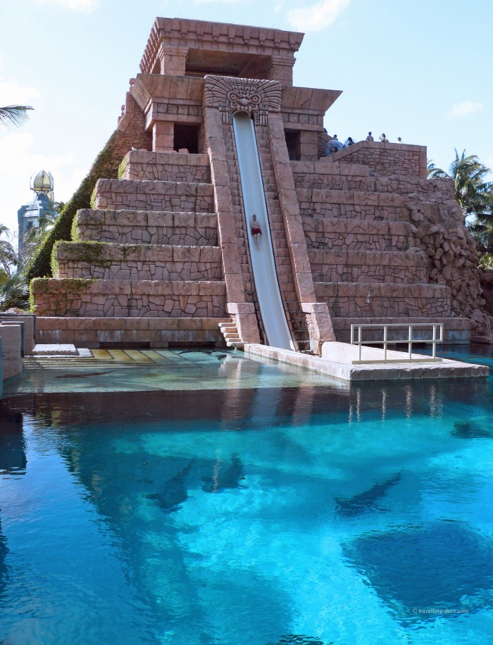 The famous temple water slide at the Atlantis Resort in the Bahamas.