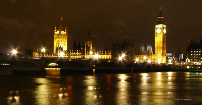 Evening at Westminster in London