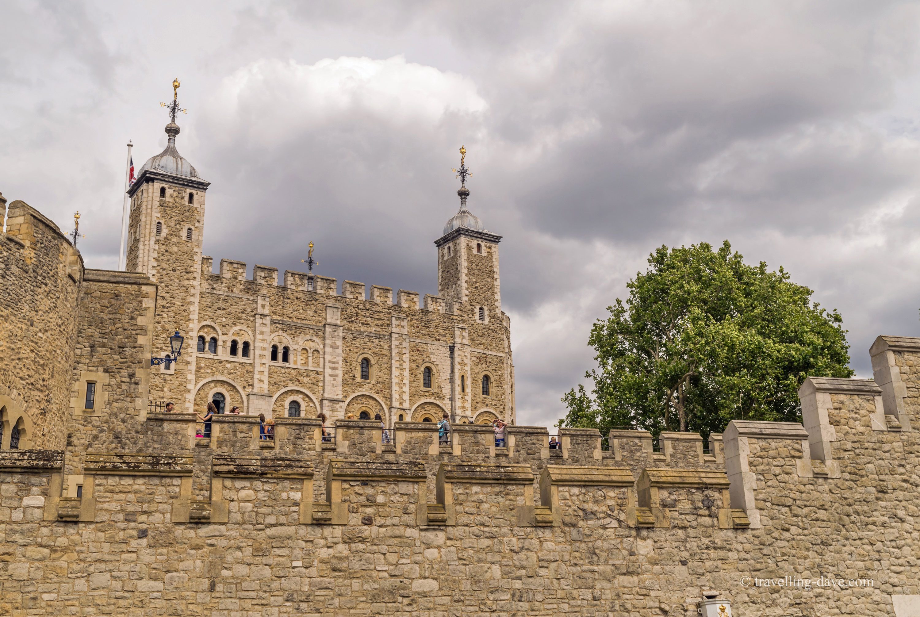 Looking up at the Tower of London