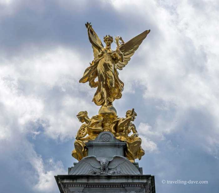 Gilded statue on top of the Victoria Memorial in London