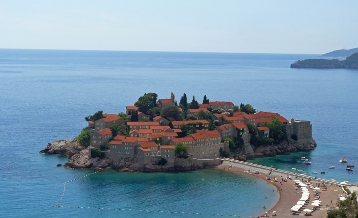 View of the beach outside Aman Sveti Stefan in Montenegro