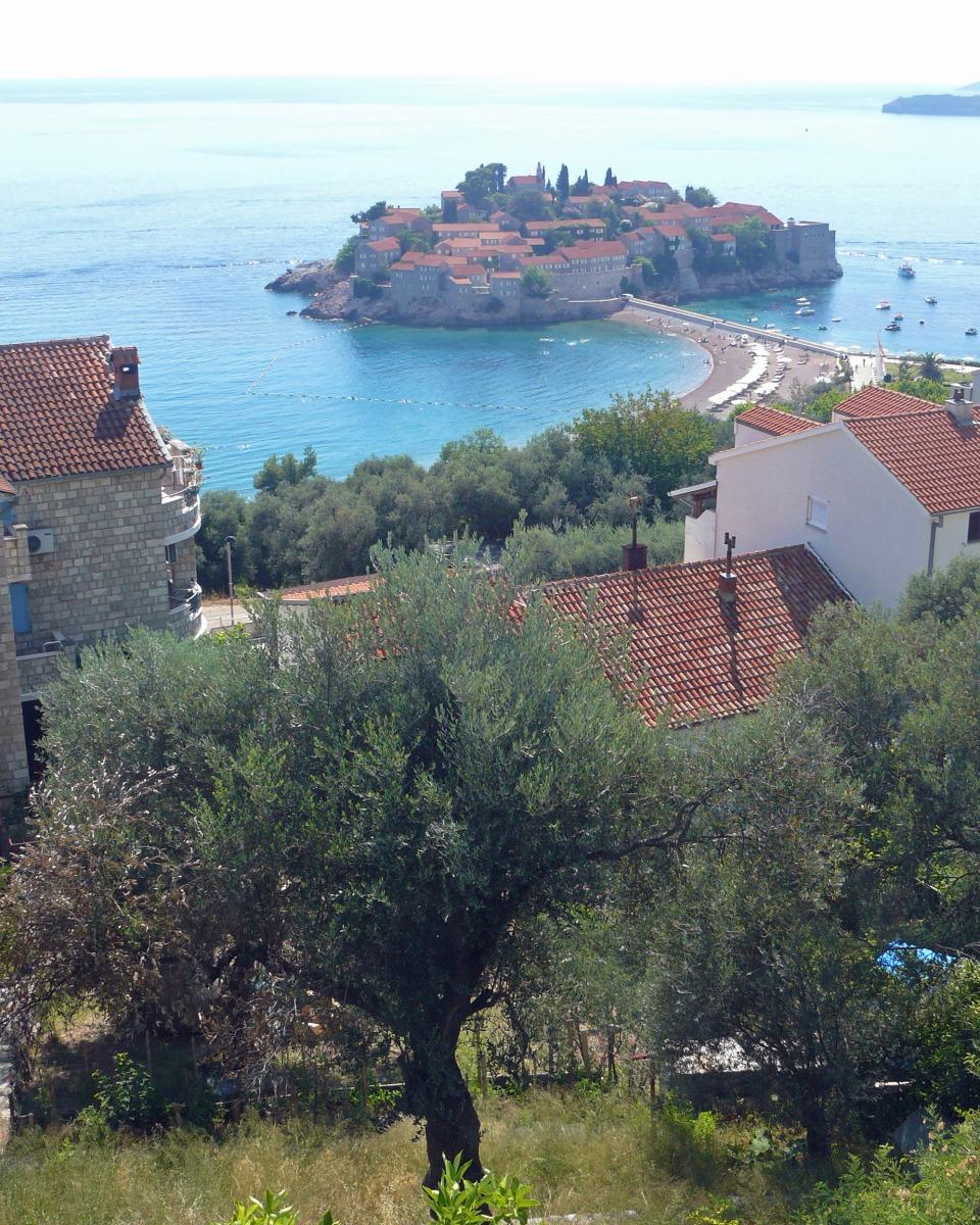 Panoramic view of Sveti Stefan in Montenegro