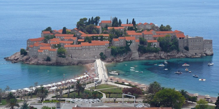 View of Aman Sveti Stefan in Montenegro