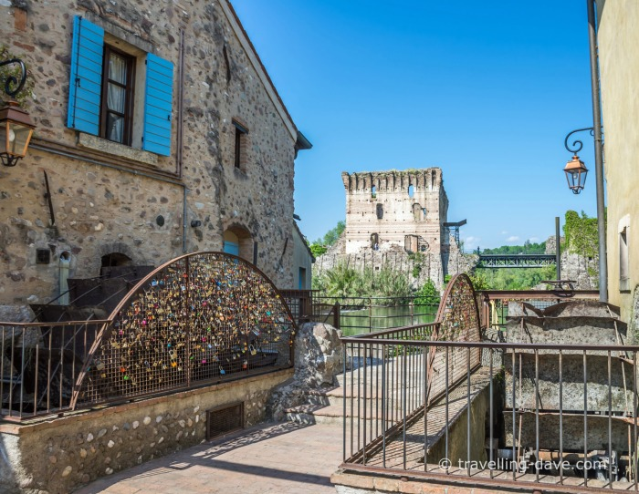 Houses and Visconti Bridge in Borghetto sul Mincio